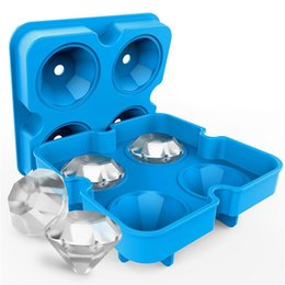 cool ice trays UK - Food Grade Silicone Diamond Ice Cube Mold Cool Whiskey Wine Cocktail Ice Cube Tray Maker Kitchen DIY Cake Candy Ice Cream Mould Tool