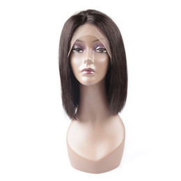 Short Human Hair Wig Sale UK - 100% unprocessed virgin human hair fashion natural color aaaaaa natural straight short full lace top wig for sale