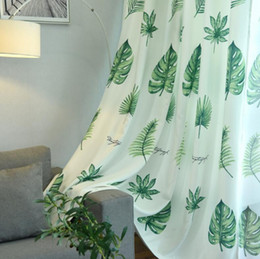 Nordic Palm Printed Blackout Curtains For Living Room Green Leaves Tree Tulle Veil Liner Cortinas Bedroom Window Treatments