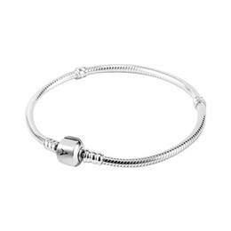 Comercio al por mayor 925 Pulseras de Plata Esterlina 3mm Cadena de Serpiente Pandora Charm Bead Bangle Bracelet DIY Regalo de La Joyería Para Hombres Mujeres en venta