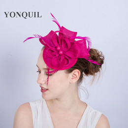 Ladies fancy races hot pink wedding hats fascinators feather hair  accessories party tocados sombreros bodas imitation sinamay hats SYF178 2284e9fc7e3d