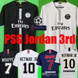 Top Tailândia qualidade AIR JORDAN PSG 3RD 18 19  camisas de futebol 2019 Paris saint germain camisa NEYMAR JR MBAPPE jersey Survetement futebol kit camisa de futebol mulheres camisa de futebol