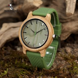 Chinese  en's Watches Quartz Wristwatches BOBO BIRD Brand Bamboo Watches for Men and Women Silicone Strap Wooden Writwatches Ideal Gifts Items Rel... manufacturers