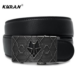 Chinese  [KURAN] New cowhide strap for male automatic buckle belts Arrival cow genuine leather men's belt for men alloy buckle belts manufacturers