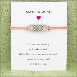 Discount make wish bracelets - 1pc Make A Wish Charm Bracelet Four Colors To Choose Bracelets With A Wishing Card for Men Women Friends Gift Jewelry Ac