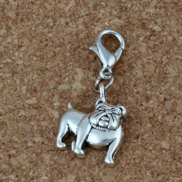wholesale charms NZ - MIC 100Pcs Antique Silver Alloy Cute Bulldog Charms Bead with Lobster clasp Fit Charm Bracelet 13 x 31mm DIY Jewelry A-225b