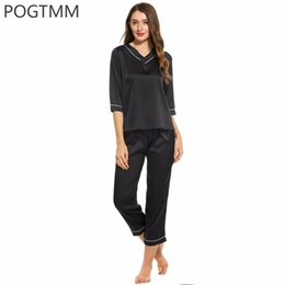 4a0456f5ac Spring Autumn 2017 Women Top and Pants Pajama Set Female Satin Silk Pyjamas  Suit Lady Sleepwear Nightgown Pijama Home Sleep Wear