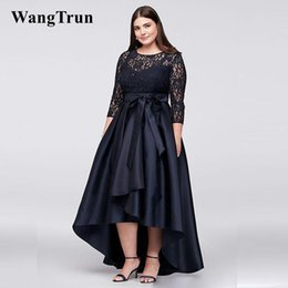 $enCountryForm.capitalKeyWord Canada - Black Plus Size High Low Evening Dresses Formal Gown With Half Sleeves Sheer Jewel Neck Lace A-Line Evening Prom Gowns Cheap Dresses