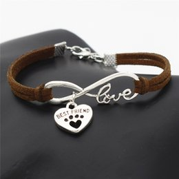 Best Christmas Gifts For Men Australia - New Unique Dark Brown Leather Suede Best Friend Gifts for Women Men Antique Silver Infinity Love Cute Pets Dog Cat Paw Heart Charm Bracelets