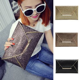 Discount cell phone wallets purses - Fashion Women Glitter Sequins Envelope Handbag Evening Party Clutch Bag Wallet Purse Sparkling Gold Black NNA366