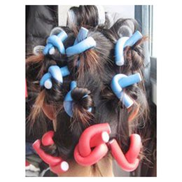 Discount hair rollers hairstyles - 10pcs DIY Hairstyle Bendy Hair Styling Tools Plastic Curler Roller Soft Stick Spiral Salon Hair Curlers For Soft Curls