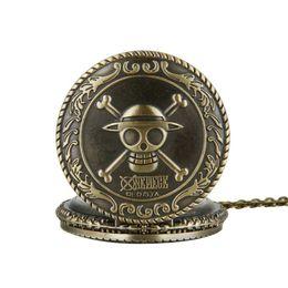 Wholesale 100pcs lot classic Pirate watch vintage pocket watch necklace Men Women antique Bronze watch PW056 on Sale