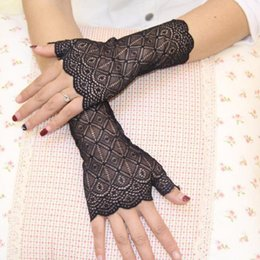 $enCountryForm.capitalKeyWord Australia - Lace Fingerless Short Gloves Fashion for driving car wedding decoration grace vintage check flower grace Anti-sun