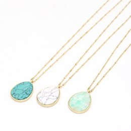 Druzy Crystal Turquoise UK - Waterdrop Turquoise Natural Stone Pendant Necklace Druzy Quartz Crystal Gold Metal Long Chain Sweater Necklace Geometric Body Jewelry