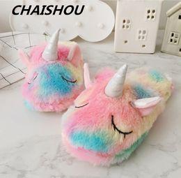 2018 nuevos zapatos de mujer zapatillas de casa linda niña unicornio diadema gafas paquete bolsillo de algodón de felpa solo un tamaño 35-38