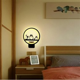 Bedroom wall night light online shopping - sconces bedside wall lamp bedroom art livingroom cute lights simple modern creative totoro deer horse LED night light children round ring