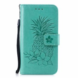 Leather Case Iphone Id Australia - Imprint Pineapple Flower Leather Wallet Case For Iphone XR XS MAX X 10 8 7 6 6S SE 5 5S Galaxy Note 9 S9 Flip Cover ID Card Slot Fruit Strap