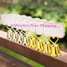 silver wedding bell place card holders NZ - (30 Pieces lot) Silver and Gold Heart Kissing Bell Place card holder for Wedding Banquet Guest name card holder and party favors