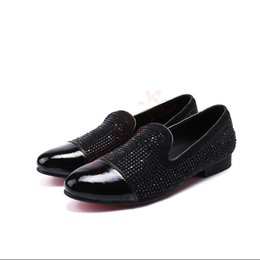 Bling Wedding Shoes Flats UK - 2018 New Style Europe bling Leather Shoes Rhinestone Fashion Mens Dress wedding Shoes Men Casual Diamond Pointed Toe Loafers S404