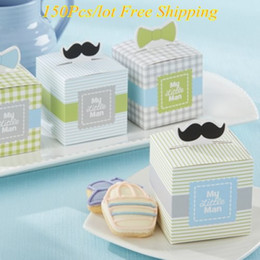$enCountryForm.capitalKeyWord NZ - 150Pcs lot Adorable Baby decorative box with Mini mustaches and dapper Bows For Baby boy Candy boxes and baby party favor box