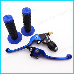 "Discount dirt bike handle grips - Blue ASV Folding Clutch Brake lever + 7 8"" Handle Bar Soft Throttle Hand Grips MX Motocross Dirt Pit Pro Bike XR50"