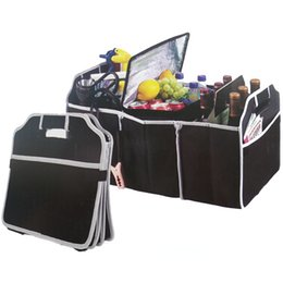storage car trunk organizers UK - Outdoors Trunk Organizer Car Toys Food Storage Container Bags Box auto camping Interior Accessories (Color: Black)