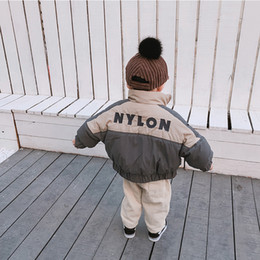 boys stand 2019 - Winter Korean style infant boys letters embroidery fashion cotton-padded coats baby kids batwing sleeve stand collar dow
