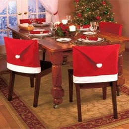 Indoor Chairs Australia - 2018 christmas Chair Covers Santa Clause Red Hat for Dinner Decor Home Decorations Ornaments Supplies Dinner Table Party Decor 10pcs