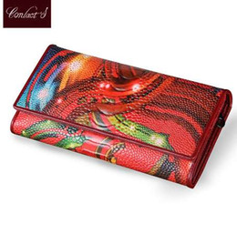 fresh fruit flowers NZ - New Fashion Leather Women Wallet Vintage Flower Printed Ostrich Red Wallets Ladies' Long Clutches With Coin Purse Card Holders