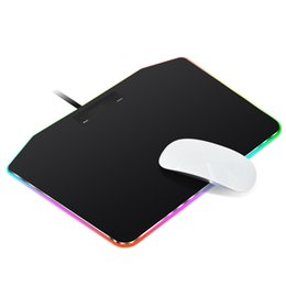 Discount touch pad games - RGB Gaming Hard Mouse Pad Colorful 7 LED Lighting Modes Autonomous Touch Control Mouse Mat USB Wired for Game players, 3