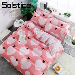 Ivory Linen Suit Canada - Solstice Home Textile King Queen Full Twin Bedding Suit Girl Kid Adult Woman Bed Linens Pink Heart Duvet Cover Pillow Case Sheet