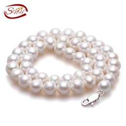Twisted Pearl Necklaces Jewelry NZ - White Round Freshwater Natural Pearl Necklace Women fine Jewelry Pearl 925 silver necklace Cultured Genuine pearl necklace Y18102910