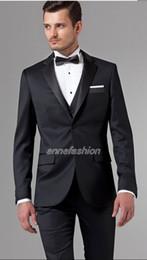 Traje de lana 100% puro hecho a mano de alta calidad italiana Traje de  hombre de negocios Esmoquin de tres piezas negro para el novio de la boda d53da5a9971