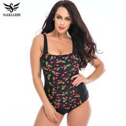 0ccb23d97047d NAKIAEOI 2017 New Plus Size Swimwear Women One Piece Swimsuits Beach Padded Polka  Dot Vintage Bathing Suits Swim Wear 4XL