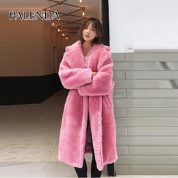 2018 nuevo abrigo largo de invierno cálido oso de peluche piel sintética  rosa y estampado de leopardo abrigo para mujeres con bolsillo 1b02c913016e