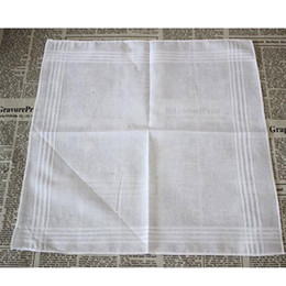 Vente en gros 100% Coton Blanc Mouchoir Mâle Table Serviette Satin Hankerchief Carré Tricot Sweat-absorbant Lavage Serviette Pour Bébé Adulte HH7-916