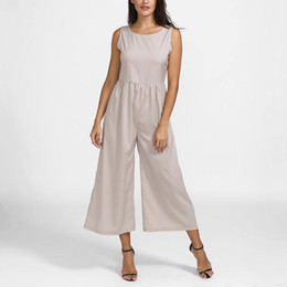 41d91889b51 Summer Tops For Women 2018 Korean Style Solid Casual Loose Sleeveless O  Neck Wide Leg Jumpsuit Combishort Femme