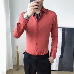 korean long black hair 2019 - Casual long-sleeved shirt male Korean version of Slim handsome business wild white shirt simple hair stylist night cloth