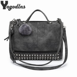 Motorcycle Hair Australia - Hot Vintage Nubuck Leather Female Top-handle Bags Rivet Larger Women Bags Hair Ball Shoulder Bag Motorcycle Messenger Bag