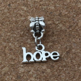 Silver braceletS hope online shopping - MIC Dangle Antiqued Silver Alloy hope charm Big Hole Bead Fit Charm Bracelet Jewelry x20mm A a