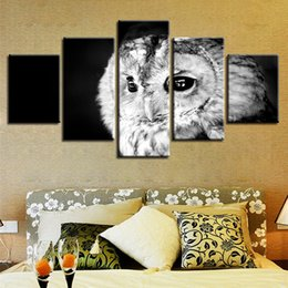 Art Canvas Prints Australia - Modular Wall Art Pictures HD Printed Frame 5 Pieces Owl Animal Canvas Painting Black And White Poster For Living Room Home Decor
