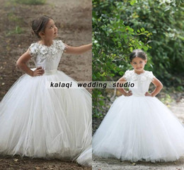 christmas tutu patterns Australia - A-Line Jewel Neck Party dress Ball Gown Said Mhamad TuTu Flowers Girls Dresses Little Girl Patterns Mother and Daughter Dress Gowns ivory
