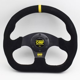 Racing games steeRing wheels online shopping - Suede Black inch Flat Game OMP Steering Wheel Racing Rally Drift Sport Steering Wheel With OMP Horn Button