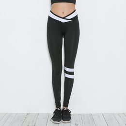 Training Tights Women Canada - Sexy Yoga Pants Women Sports Yoga Leggings Stripe Training Leggings Female Elastic Gym Fitness Workout Running Tights