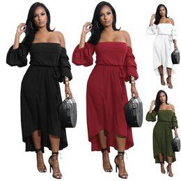 Plus Size Irregular Hem Dress NZ - Casual Dresses Irregular Hem Strapless Sleeved Dress Summer Dresses Slash Neck Asymmetric Plus Size Fashion Dresses Puff Sleeve Dress Women