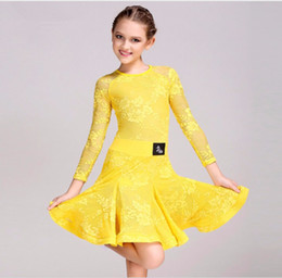 white salsa dresses Canada - Free Shipping 6Color Green Yellow Pink White Children Kids Latin Dance Dress Girls Lace Salsa Tango Cha cha Ballroom Competition Dance Dress