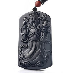 China Natural Obsidian God Pendant Man and Woman Fine Carving God of Wealth Pendant Red Sandalwood Pearl God Necklace cheap sandalwood necklaces suppliers