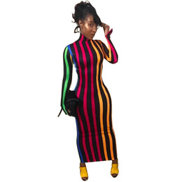 $enCountryForm.capitalKeyWord UK - Women Autumn Winter Dresses Slim Elastic Turtleneck Long Sleeve Sexy Lady Bodycon Robe Dresses Vestidos Multicolor Stripe print Long dress