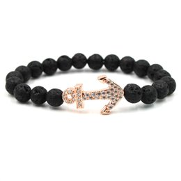 Chinese  Fashion 8mm Boat Anchor Lava Rock Bracelet Alloy Natural Stone Zircon Bangles For Women & Men Gift manufacturers
