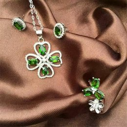 Wholesale KJJEAXCMY boutique jewels Pure silver inlay natural diophanous stone lady sets of flowers trifolia floret European and Ame